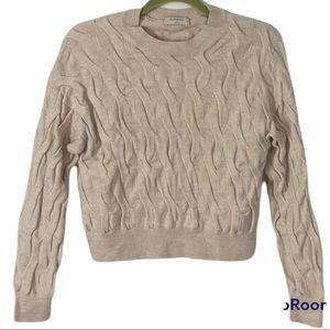 Babaton Beige Textured Merino Wool Crop Crew Neck Sweater Size Small